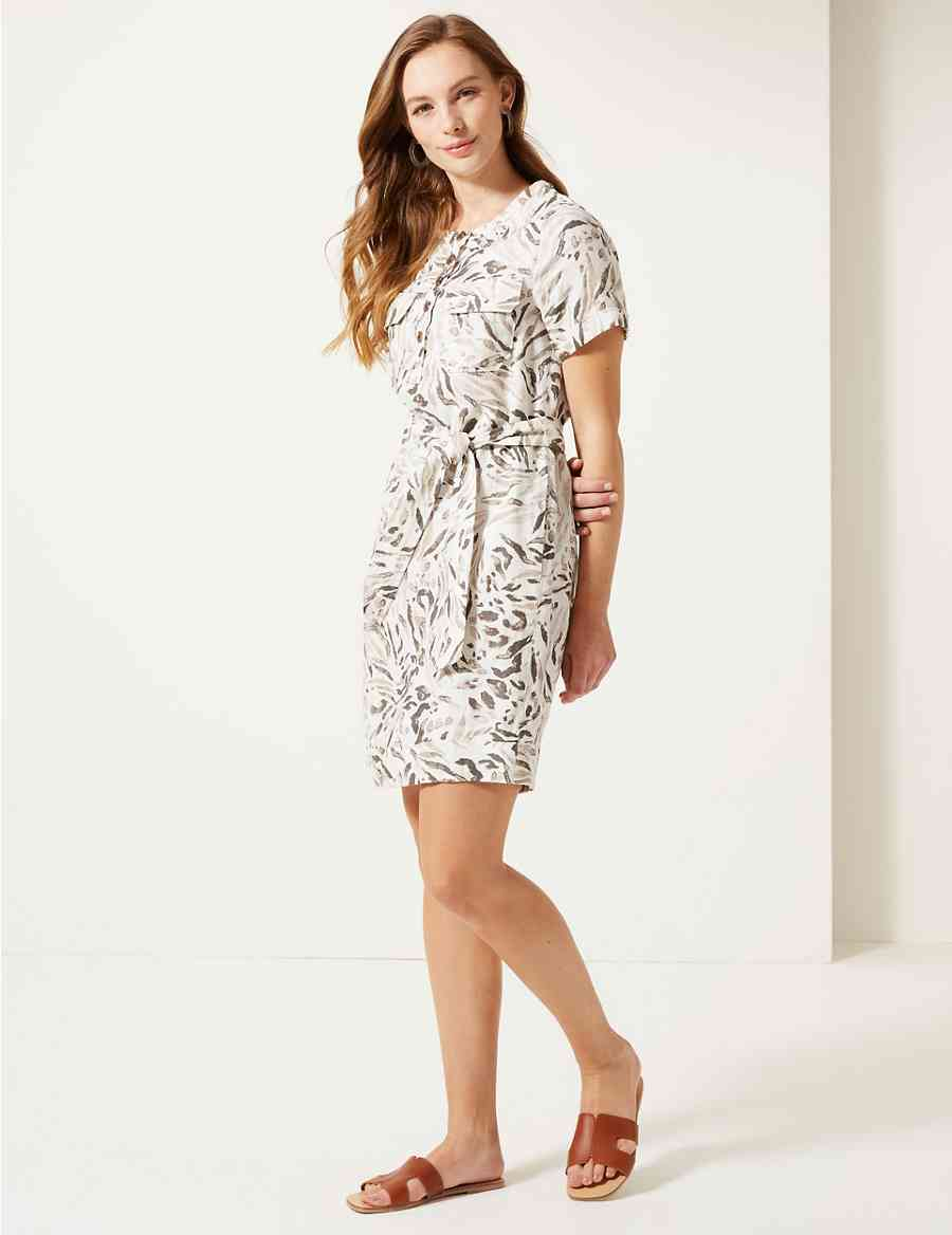 47e2274a349 Pure Linen Animal Print Mini Shirt Dress