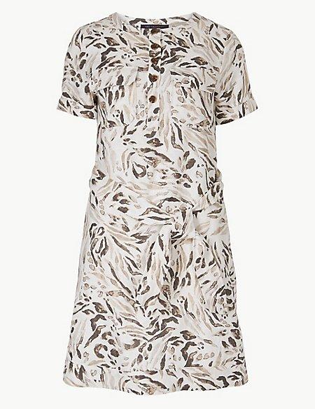 Pure Linen Animal Print Shirt Mini Dress