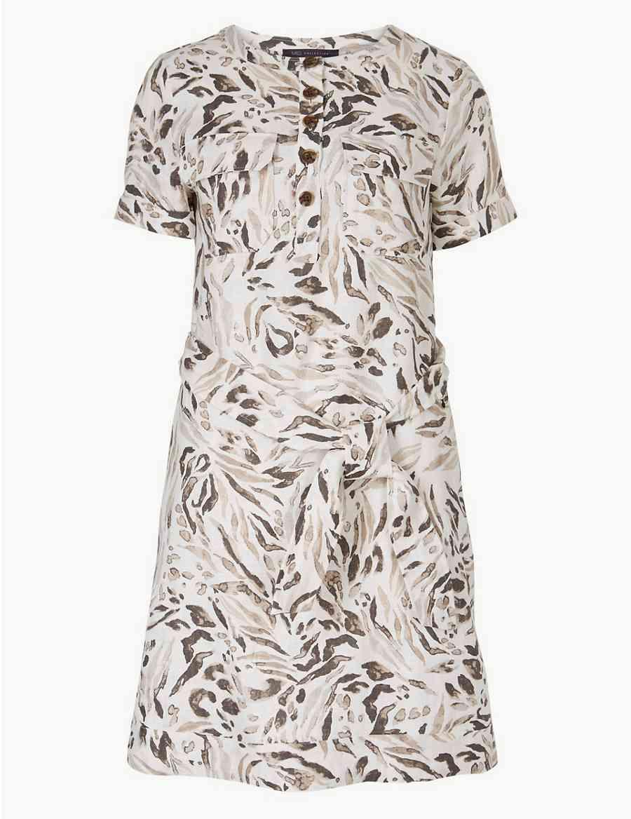 33fbf023b0 Pure Linen Animal Print Mini Shirt Dress