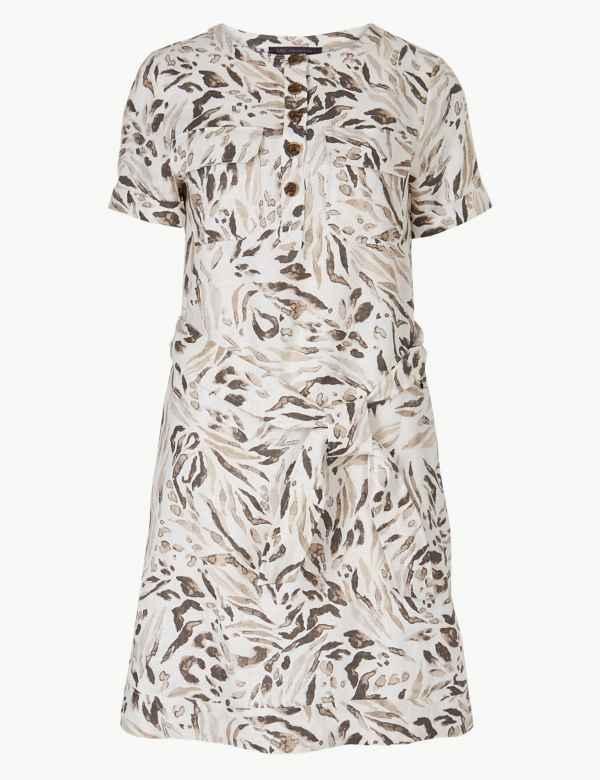 24e5eb7e63f4e6 Pure Linen Animal Print Mini Shirt Dress