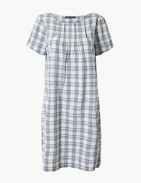 Checked Pleat Front Shift Mini Dress