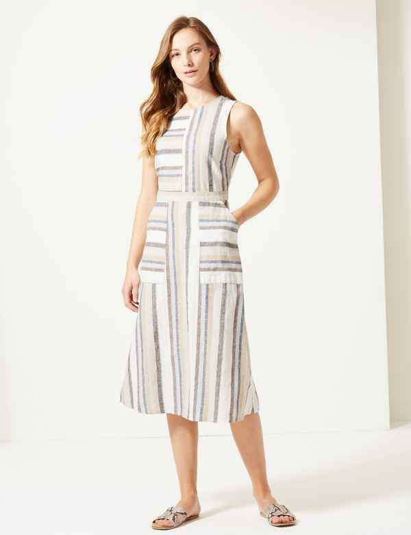 e99e2acfc43 Linen Rich Striped Fit   Flare Midi Dress