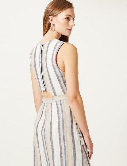 677f6e679c Linen Rich Striped Fit   Flare Midi Dress