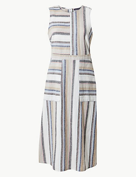 Linen Rich Striped Fit & Flare Midi Dress