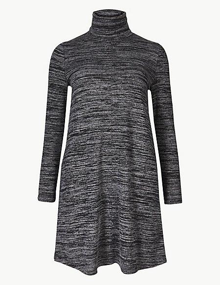 PETITE Textured Long Sleeve Shift Dress