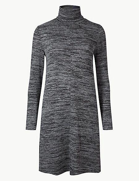 Textured Long Sleeve Mini Shift Dress