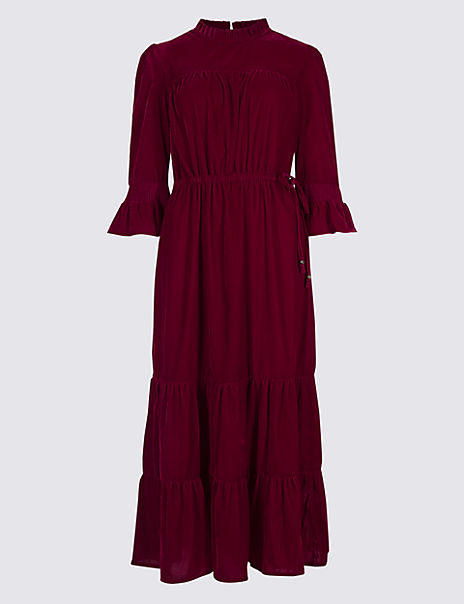 Velvet ¾ Sleeve A-Line Maxi Dress