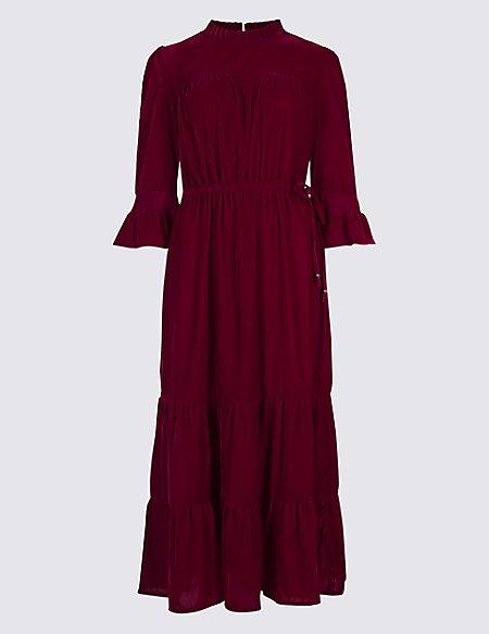 Velvet ¾ Sleeve A-Line Maxi Dress