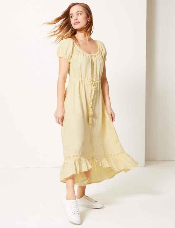 372cc9c736b PETITE Pure Linen Waisted Midi Dress. Online Only