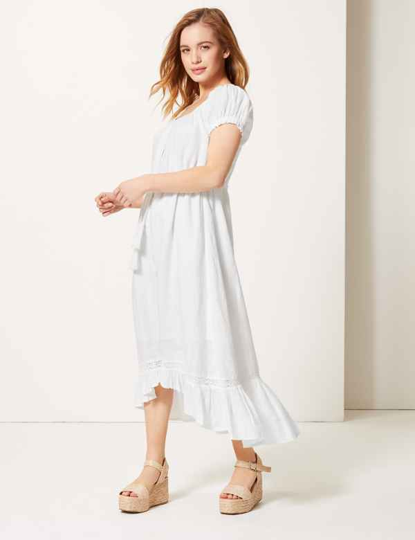 cea7654c224 PETITE Pure Linen Waisted Midi Dress