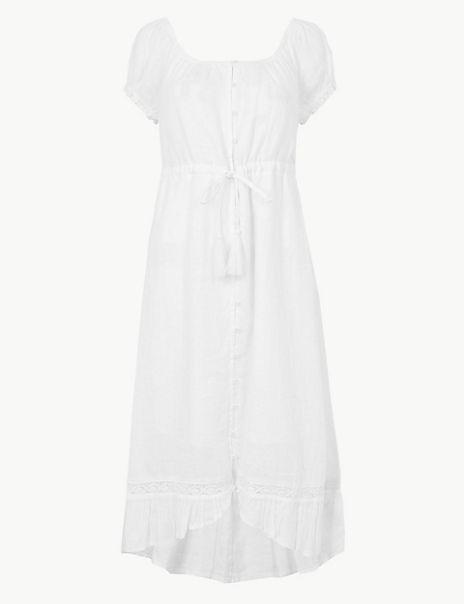 PETITE Pure Linen Waisted Midi Dress