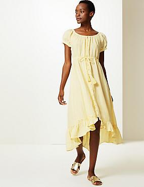 be6f0b9e32069e Getailleerde midi-jurk van zuiver linnen