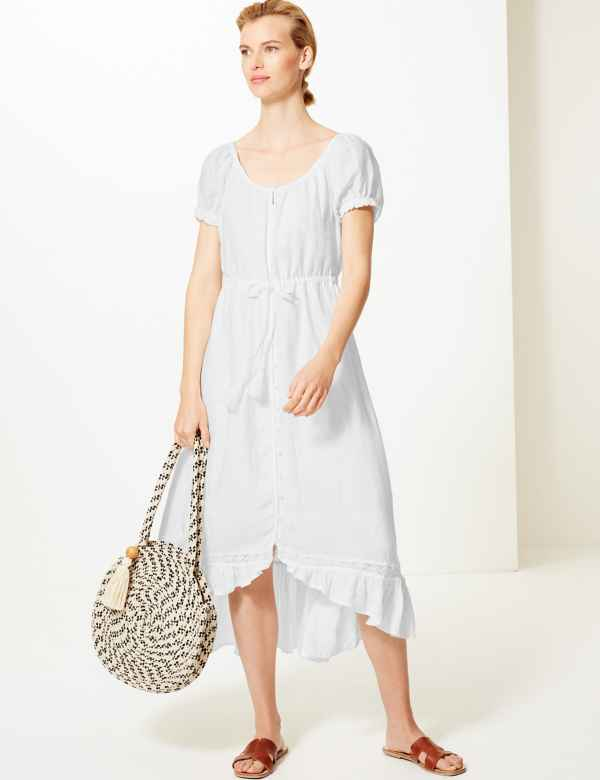 578ac931159 Pure Linen Waisted Midi Dress