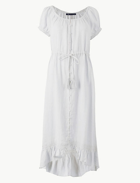 Pure Linen Waisted Midi Dress