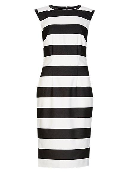 Faux Leather Trim Striped Shift Dress
