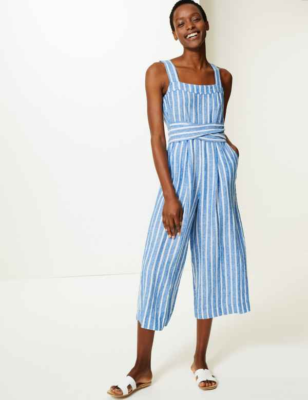 bb31e1d1f9 Pure Linen Striped Jumpsuit. Online Only