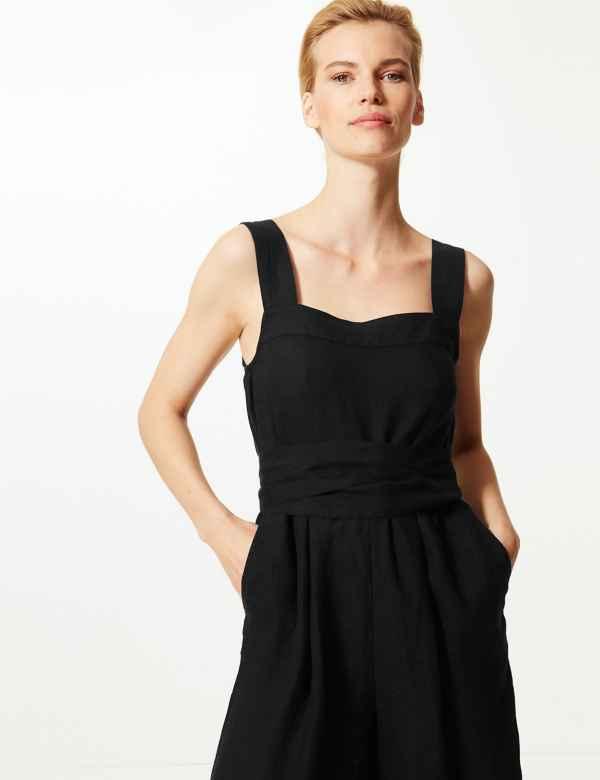 5e0dff4a368 Pure Linen Jumpsuit. Online Only. M S Collection