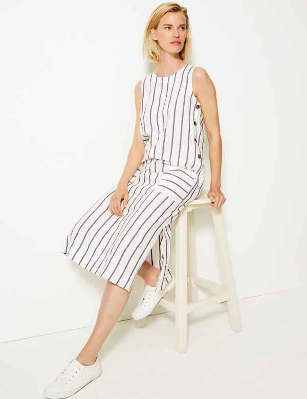 391889c702b Cotton Blend Striped Midi Shift Dress