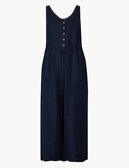 Linen Blend Button Detailed Jumpsuit