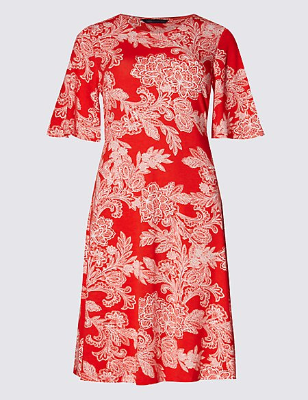 Floral Print Flared Sleeve Swing Dress