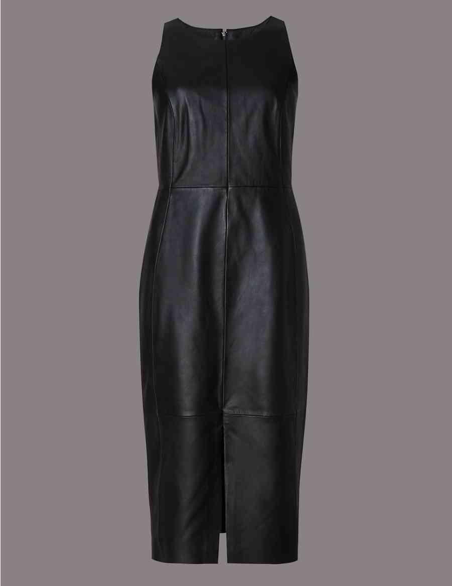 4eca6a3cb35def Leather Sleeveless Bodycon Dress