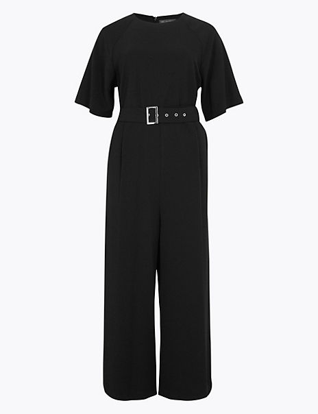 Zipped Detail Belted Jumpsuit