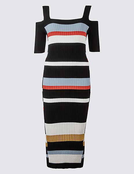 Striped Cold Shoulder Bodycon Midi Dress
