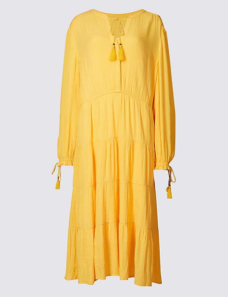 Tiered Cuff Detail Long Sleeve Midi Dress