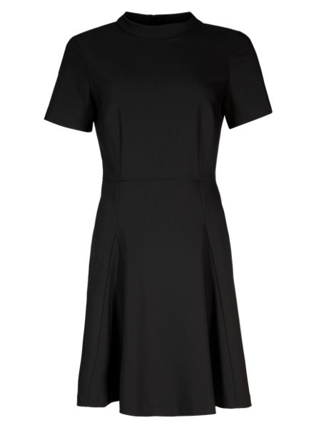 Panelled Short Sleeve Skater Dress