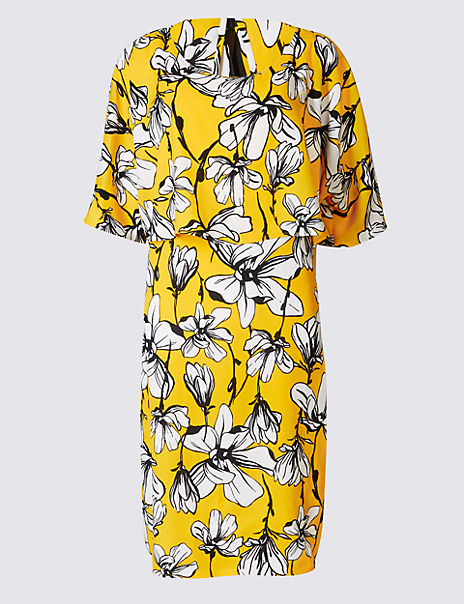 Floral Print Double Layered Shift Dress