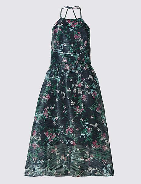 Floral Print Halter Neck Skater Dress