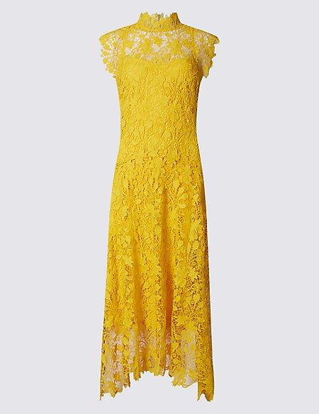 Floral Lace Assymetric Hem Shift Midi Dress