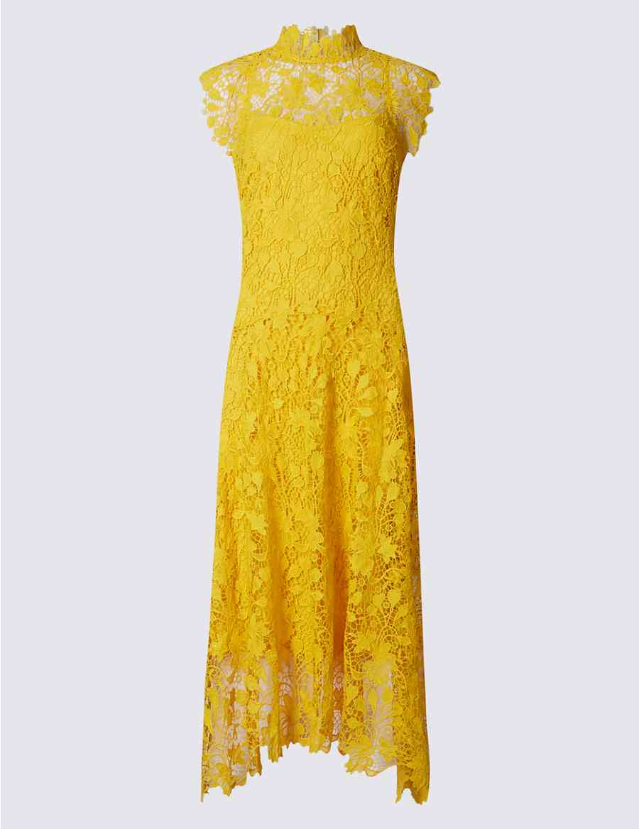 5606f104363c Floral Lace Assymetric Hem Shift Midi Dress