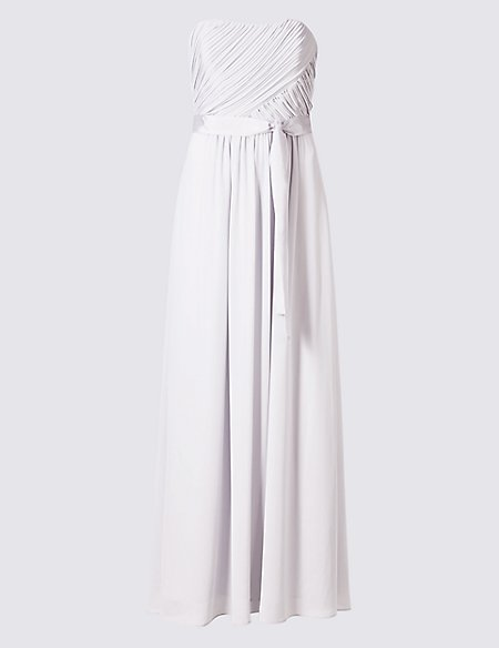 Detachable Straps Pleated Maxi Dress