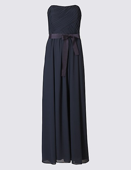 Fuller Bust Detachable Straps Pleated Maxi Dress