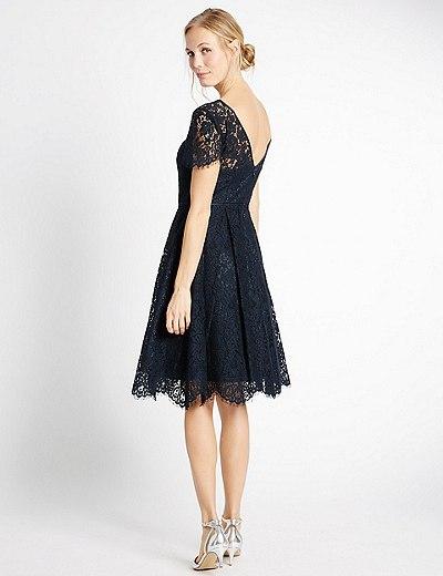 Kleid im Swing-Stil aus Baumwollmischgewebe mit Spitze   Marks ...