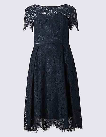 Cotton Blend Lace Swing Dress