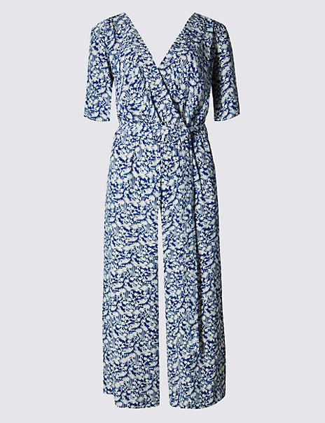 Oriental Print Culottes Belted Jumpsuit
