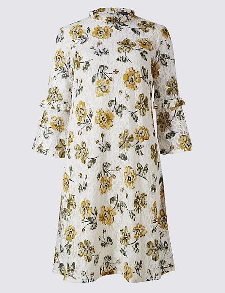 Cotton Rich Floral Lace Swing Dress