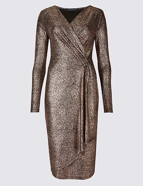 Crackle Drape Long Sleeve Wrap Dress