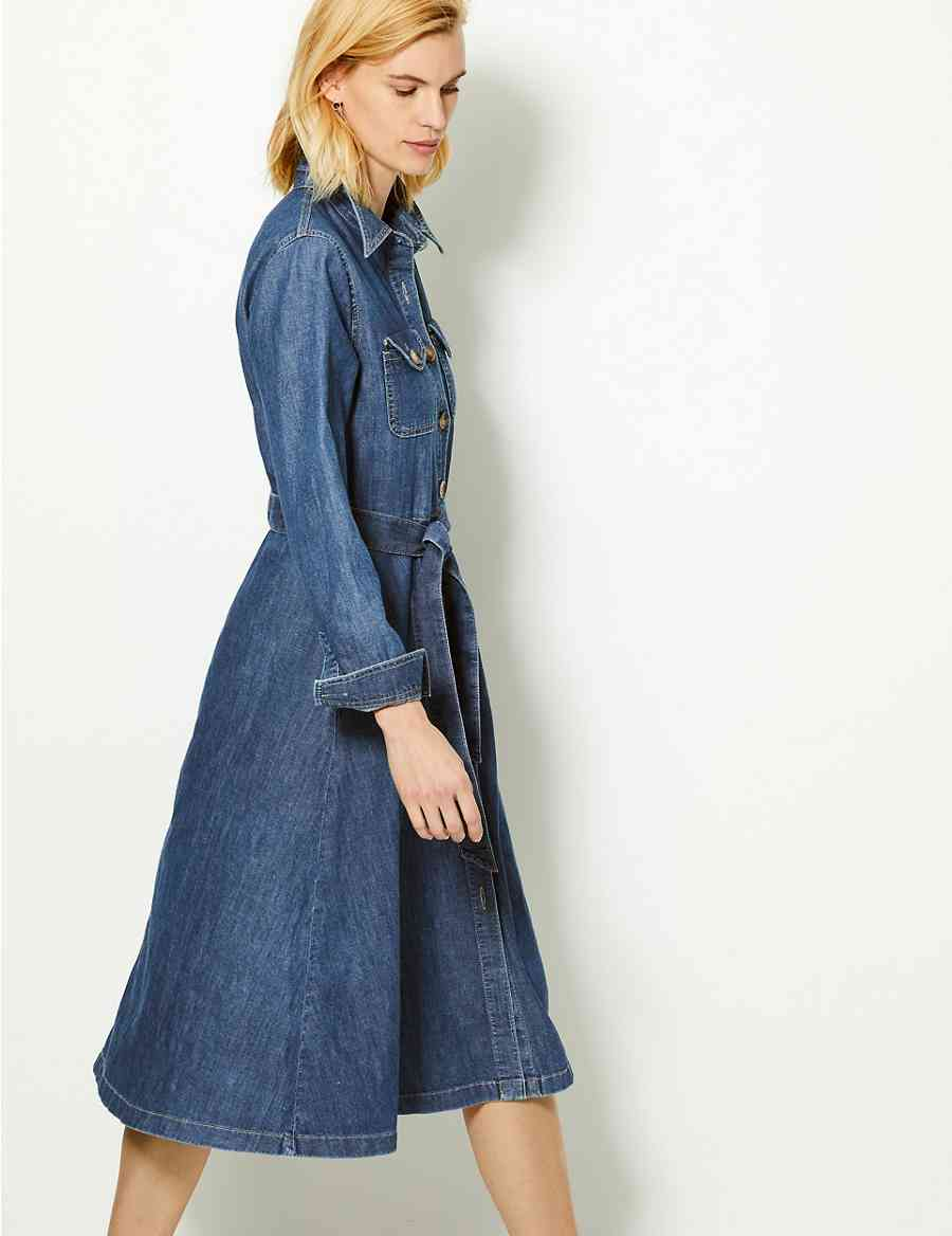 0aa38f2b1a7 Denim Midi Shirt Dress