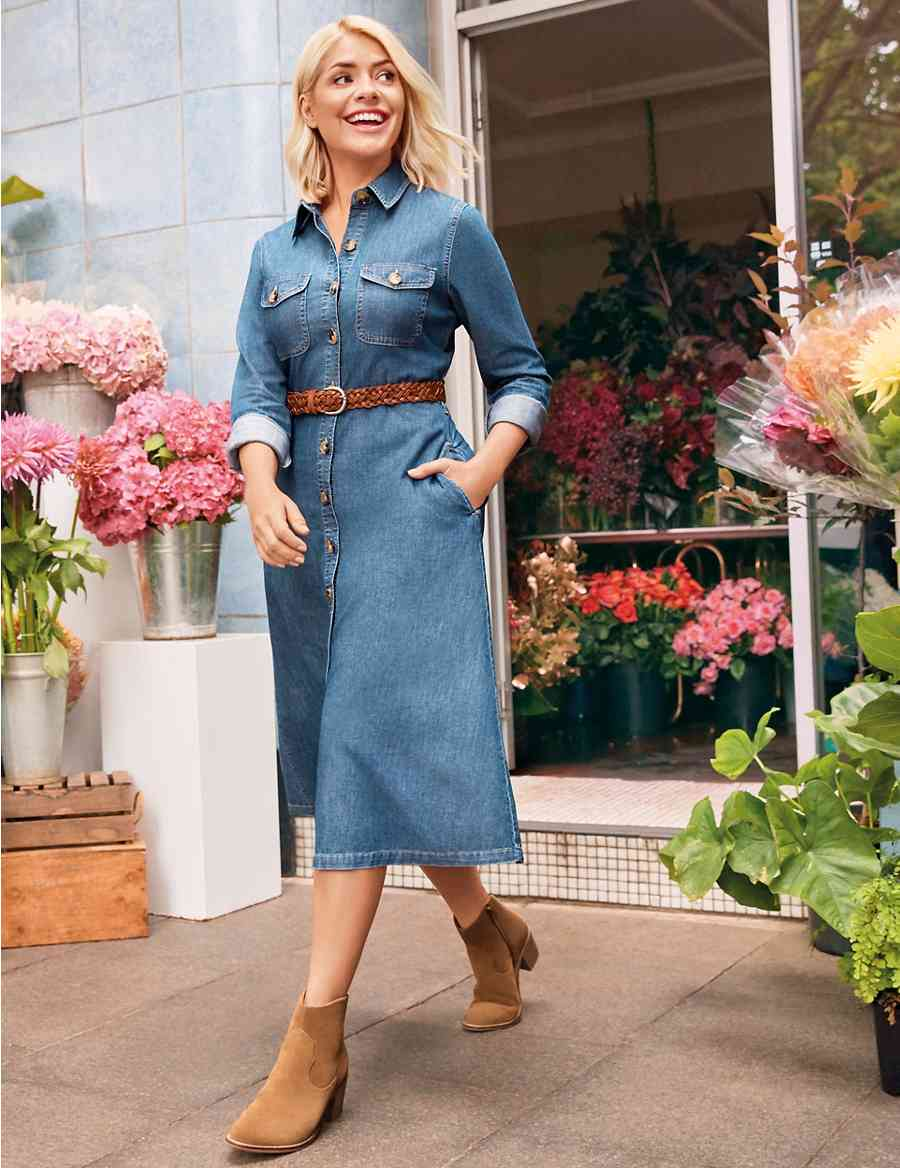 c8b7102ad6 Denim Midi Shirt Dress