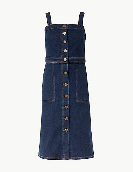 Button Detailed Bodycon Midi Dress