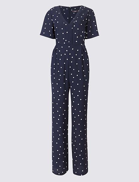 Spot Print V-Neck Short Sleeve Jumpsuit