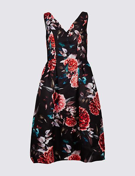 Floral Print Prom Skater Dress