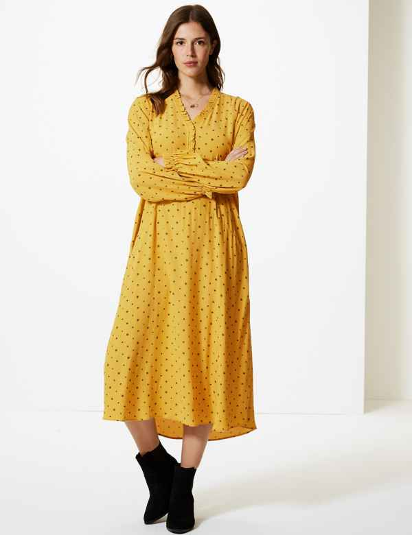 Printed Long Sleeve Relaxed Midi Dress f5343fab7