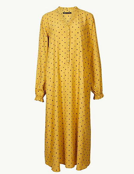 Printed Long Sleeve Relaxed Midi Dress