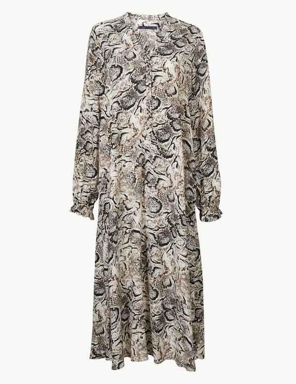 Animal Print Long Sleeve Relaxed Midi Dress 565ebebe99