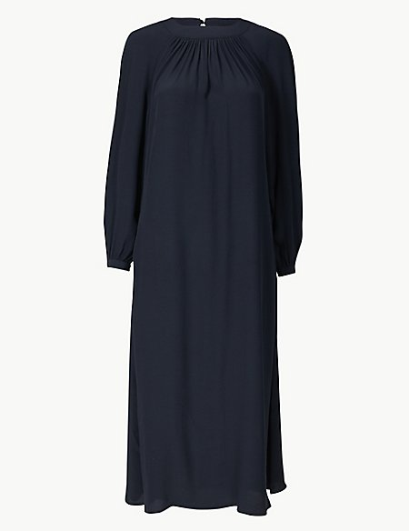 Gathered Front Relaxed Midi Dress