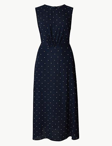Star Print Waisted Midi Dress
